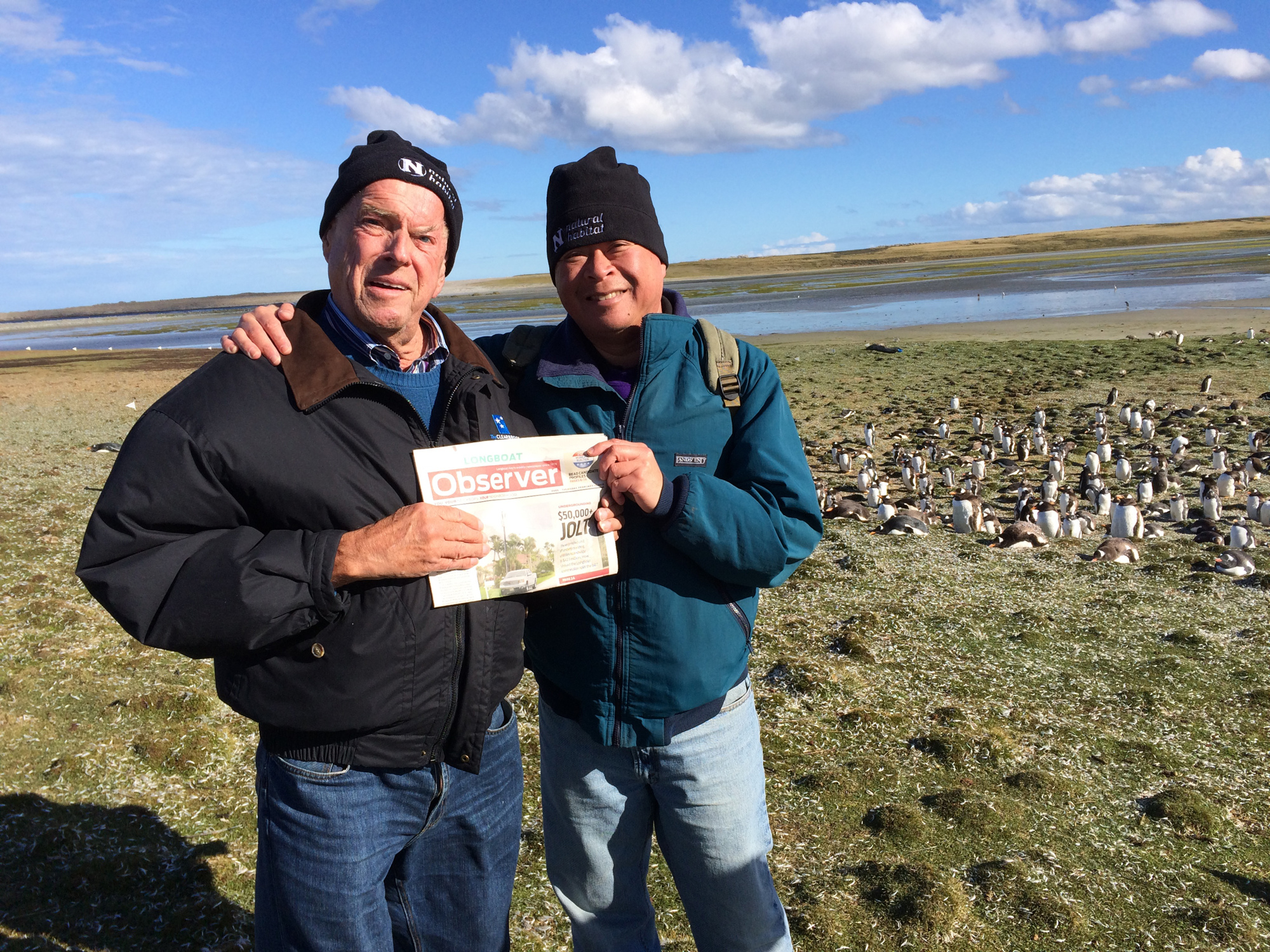 Marvin Kocian and Dean Congbalay visited hundreds of penguins at the Falkland Islands. During the Longboat residents' cruise from Santiago to Buenos Aires, they rounded Cape Horn and took in a tango show.