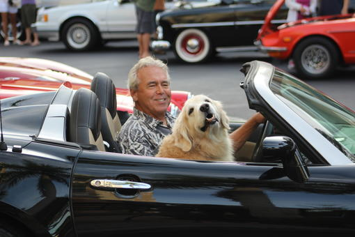 Lakewood Ranch's Steve Kulp makes a grand appearance at the car show with his pooch Abby.