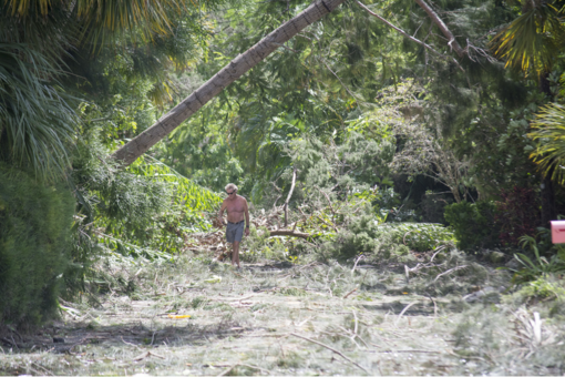 ​Peter Hull surveys the damage on Ogden Street on north Siesta Key.