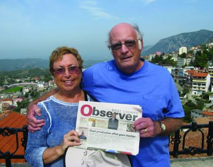ALBANIAN ENCORE. Marlene and Jim Kitchell pose with their Observer at the Skanderbeg Museum, which overlooks Kruja, Albania. The couple enjoyed the stop as part of a cruise from Monte Carlo, Monaco, to Venice, Italy.