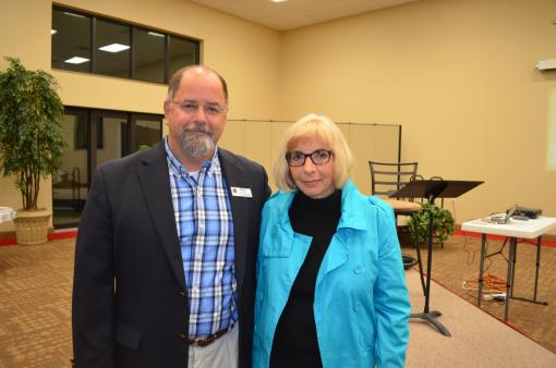 Speaker Matthew Woodside and Historical Society President Pam Coleman