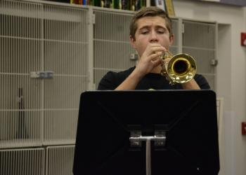 Blake Bennett, Pine View School senior, tries to put intensity into his sound during a master class session.