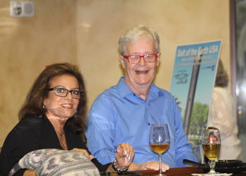 Lakewood Ranch's Yardena and Ron Babcock enjoy drinks before the comic show.
