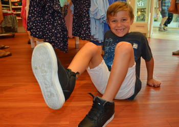 Greenbrook's Samuel Clementi shows off his Skechers Energy Lights his mom, Katie, bought him for the start of the school year at Robert Willis Elementary.