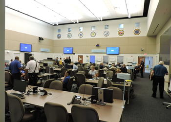 Manatee County's Emergency Operations Center was bustling on Friday.