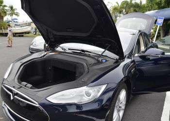 This Tesla Model S has extra storage space under the hood — the engine is located in the rear of the vehicle.