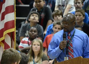 Louis Jackson, a teacher's aide at Haile, was the MC for assembly. Jackson is a Navy veteran.