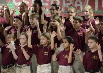 The chorus, grades three through five, performed for the school Thursday morning.