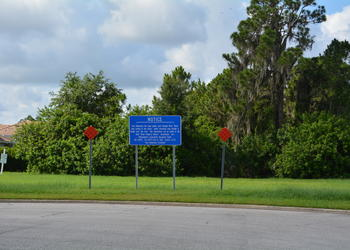 A sign at the southern end of Tara Boulevard indicates the bridge will come through one day.