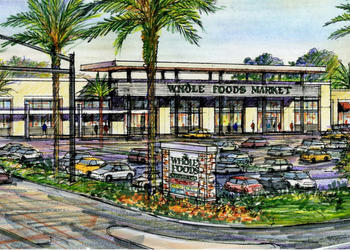 The new Whole Foods would open adjacent to a Wawa gas station. Courtesy rendering.