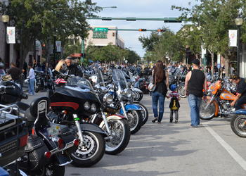 Motorcycles line Lemon Avenue during last year's Thunder by the Bay event in Sarasota. File photo.