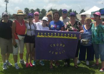 Members of the Crown Jewels Relay for Life team gather for a group photo during the Relay for Life event, held April 25, at Premier Sports Campus. Courtesy photo