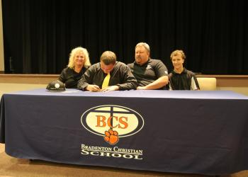 Offensive lineman Kyle Brown, a 2015 graduate of Bradenton Christian, will play football for Division III Geneva College, in Beaver Falls, Pa., this fall.