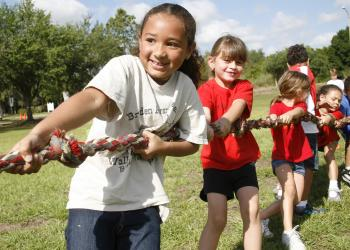 Jasmine Hernandez led her team in the tug-of-war competition.