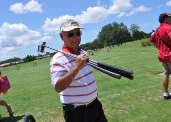 John Castellano got in some time on the driving range before the tournament began.