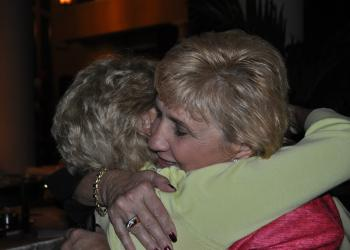 Vanessa Baugh, winner of the Manatee County Board of County Commissioners District 5 seat, hugs a supporter. Photo by Josh Siegel.