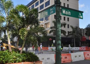 From Sept. 9-25, the intersection at Main Street and Palm Avenue will be closed for the construction of brick crosswalks. The project is the latest aspect of Main Street streetscape improvements.