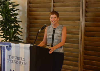 Gwen MacKenzie speaks at an Argus Foundation luncheon in May 2013. MacKenzie will step down next month after nearly 10 years as president and CEO of Sarasota Memorial Hospital Health Care System.