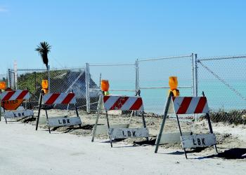 Town employees had to place beach-quality material near North Shore Road Jan. 23 to keep the road from washing out.