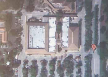 A Google overhead view of the existing Publix parking lot. Note the trees. Below: The first draft of the proposed parking lot. Expect a revised draft that restores more trees and landscaping.