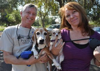 Jim and Denise Gross brought their dogs, Nico and Bella, for the first time.
