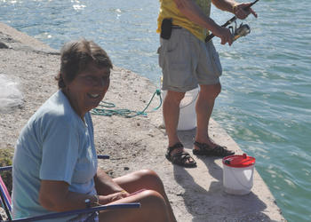 Carol and Barrie Farrar fish in Overlook Park daily. Barrie hasn't caught any keepers  so far today.