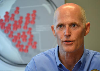 Florida Gov. Rick Scott visited The Observer Group's downtown Sarasota office Monday to answer questions for its editorial board about his agenda for the upcoming legislative session.