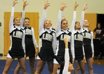 The Lakewood Ranch High JV cheerleading squad took home a first-place trophy for its performance.