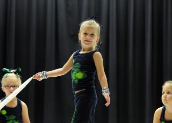 Five-year-old Kristen Rice performed with the Gullett Elementary School dance team.