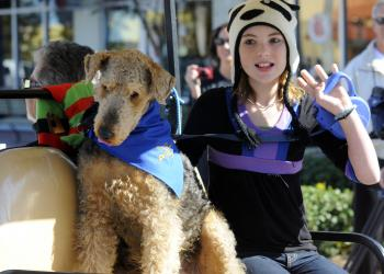 Nine-year-old Canyon Chushman competed in the Leading Man category with her dog Buddy, who came dressed as Gen. George Patton.