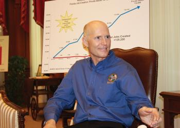 In an exclusive interview with The Observer, Gov. Rick Scott says he is staying true to his core principles and goals of putting the state back to work even as he altars how he handles Tallahassee and the media. Photo by Rod Thomson.