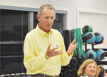 Vice Mayor David Brenner gives his final remarks to a crowd of more than 50 people Tuesday.