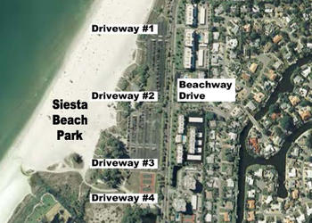 A traffic analysis conducted by a Sarasota County consultant in May 2011 proposed vehicle-flow changes for four driveways at Siesta Public Beach.