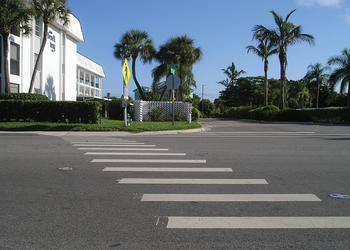 New crosswalks coming to Midnight Pass Road will be more elaborate than the crosswalk from Beach Way to the public beach. File photo.
