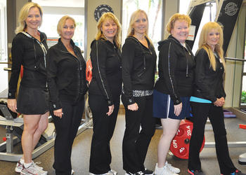 Managerial team, Blonde Ambition, before one of their team workouts: Kristi Bonsak, Sandra Rios, Jennifer Wilson, Liz Bright, Theresa Zupon and their trainer, Barbara Bertelle