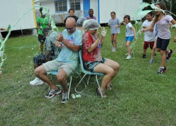 Freedom Principal Jim Mennes and fourth-grade teacher Amanda Hirst got drenched with slime.