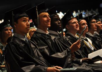 Lakewood Ranch students enjoyed watching a class video as part of opening ceremonies for commencement.