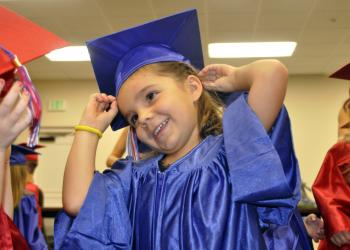Isabella Roca, 5, enjoyed getting ready with her classmates.