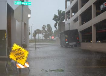 Banana Court between Palm Avenue and North Gulfstream Avenue is under water today.