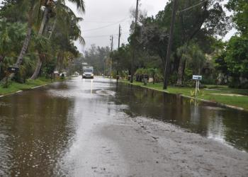 Flooding occurred on Broadway and throughout the Longbeach Village.