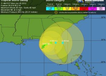 Tropical Storm Debby's projected to cross the Florida Panhandle. Image courtesy of Weather Underground
