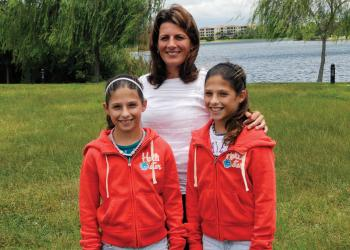 Julie Fazio, pictured with her 12-year-old twin daughters, Sarah and Emma, will run in the New York City Marathon for Families of Spinal Muscular Atrophy in honor of her son, Frankie.