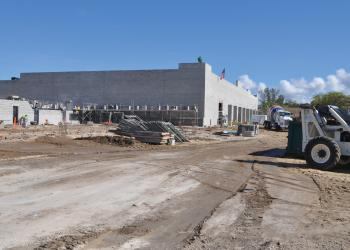 The area with beams to the right will be the new Publix entrance, while the area to the left will become retail shops.