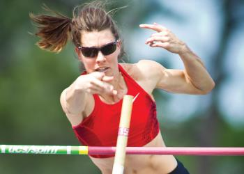 Lacy Janson tied for 15th place in the women's pole vault qualifier. File photo.