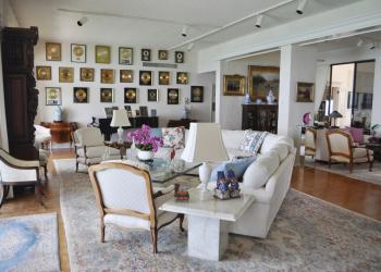 Art Ferrante's 22 gold records hang over the living room of the Longboat Key Towers penthouse.