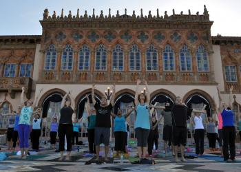 More than 140 people registered to participate in the first monthly Yoga at the Ringling event Saturday, Sept. 15.