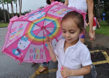 Maya Griffin, 4, was prepared for the rain.