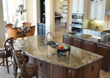 The Montego model in The Vineyards at The Lake Club has a double island in the kitchen.