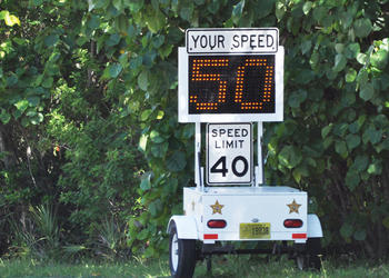 The Sarasota County Sheriff's Office placed a digital speed limit sign on Midnight Pass Road in September. File photo.