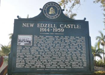 The new historical marker tells the history of the New Edzell Castle, which was Bird Key's first mansion. The home was torn down in 1959.
